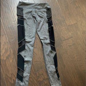 (NWOT) Grey Leggings with Black Mesh Detailing